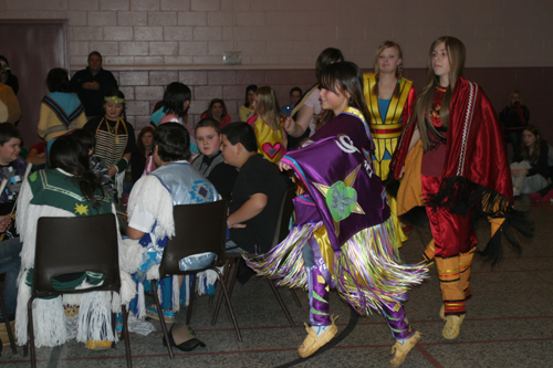 The RCDSB Native Language students take part in the Women�s Traditional dance.